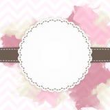 Schablone der rosa und braunen Grußkarte Stockbilder