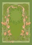 Schablone des Art DecoPlakats mit Tulpen Stockfotos