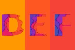 Schablone des Buchstaben DEF Lizenzfreie Stockbilder