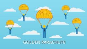 Schablone des goldenen Fallschirmes Stockfotografie