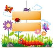 Schablone des hölzernen Brettes mit vielen Insekten lizenzfreie abbildung