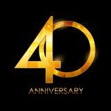 Schablone 40 des Jahrestags-Glückwunsch-Jahre Vektor-Illustratio stock abbildung