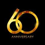Schablone 60 des Jahrestags-Glückwunsch-Jahre Vektor-Illustratio lizenzfreie abbildung