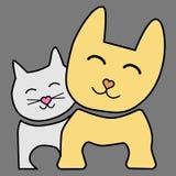 Schablone des kreativen Logoentwurf Hunde- und Katzenvektors lizenzfreie abbildung