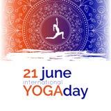 Schablone des Plakats für internationalen Yoga-Tag Stockfotos