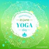 Schablone des Plakats für internationalen Yoga-Tag Lizenzfreie Stockfotografie