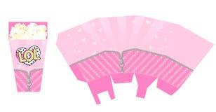 Schablone des Popcornkastens für Partei mit Reißverschluss Verpacken für Puppen-Überraschungsthema des Geburtstages LOL vektor abbildung