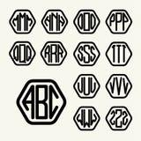 Schablone des Satzes 2, zum eines Monogramms von drei Buchstaben zu schaffen Stockbilder
