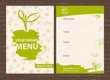 Schablone eines vegetarischen Menüs für ein Café, Restaurant, Bar Healt Lizenzfreies Stockfoto