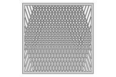 Schablone für den Schnitt Dreiecklinie Dekormuster Laser-Schnitt Verhältnis1:1 Stockfotografie