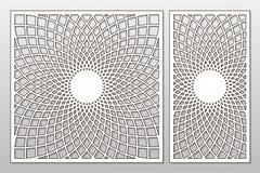 Schablone für den Schnitt Mandala, Arabeskenmuster Laser-Schnitt set lizenzfreie abbildung