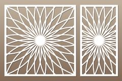 Schablone für den Schnitt Mandala, Arabeskenmuster Laser-Schnitt set vektor abbildung