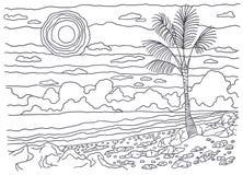 Schablone für die Färbung Einsame Palme Stockbild