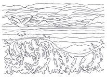 Schablone für die Färbung Landschaftsmalerei Meer, Wellen, Vogel, Seemöwe, Himmel, Wolken, Wind, kühl, Bewegung, Flug, Spritzen Stockfotos