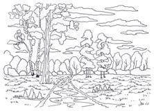 Schablone für die Färbung Landschaftsmalerei Wald, Bäume, Birke, Kiefer, Sträuche stockfotografie