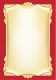 Schablone für Diplom, Zertifikat, Karte mit Rolle und dekorative Hintergrundmuster Lizenzfreie Stockfotografie