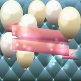 Schablone für Einladung, Glückwunschkarte, Postkarte mit Ballonen a Lizenzfreies Stockbild