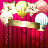 Schablone für Einladung, Glückwunschkarte, Postkarte mit Ballonen a Lizenzfreie Stockbilder