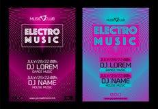 Schablone für Fahnen des Plakatdesigns oder der elektronischen Musik Stock Abbildung