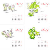 Schablone für Kalender 2011. Gemüse. Stockfotografie
