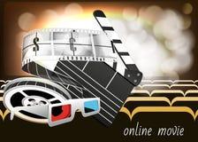 Schablone für Plakat, Website und on-line-Film Kracherspulendetails des Filmes Stockfotografie