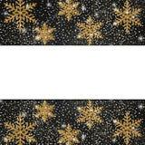 Schablone für Postkarte mit dem Glänzen von goldenen Schneeflocken Vector Kranken lizenzfreie abbildung
