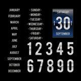 Schablone für täglichen Kalender des leichten Schlages in den dunklen Farben Stockfoto
