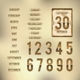Schablone für täglichen Kalender des leichten Schlages mit gebrannten Rändern Stockbilder