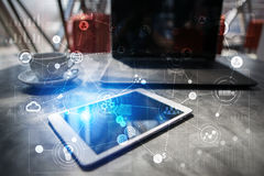Schablone für Text, Hintergrund mit Ikonen Geschäft, Internet, Technologiekonzept Lizenzfreies Stockbild