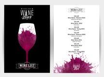 Schablone für Weinliste Vektor Abbildung