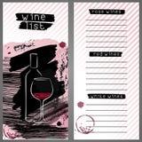Schablone für Weinliste, Barkartekarte oder Weinprobe stock abbildung