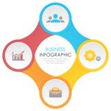 Schablone infographic mit 4 Elementen, Schritten, Wahlen, Teilen oder Prozessen Lizenzfreie Stockfotografie