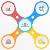 Schablone infographic mit 4 Elementen, Schritten, Wahlen, Teilen oder Prozessen Stockfoto
