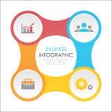 Schablone infographic mit 4 Elementen, Schritten, Wahlen, Teilen oder Prozessen Lizenzfreie Stockfotos