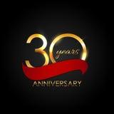 Schablone 30 Jahre Jahrestags-Vektor-Illustrations- Lizenzfreie Stockfotografie