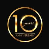 Schablone 10 Jahre Jahrestags-Vektor-Illustrations- vektor abbildung