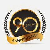 Schablone 90 Jahre Jahrestags-Vektor-Illustrations- Lizenzfreie Stockfotos