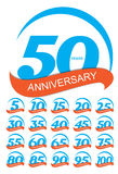 Schablone Logo Anniversary Set Vector Illustration Stockfoto