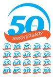 Schablone Logo Anniversary Set Vector Illustration vektor abbildung
