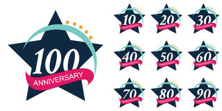 Schablone Logo Set Anniversary Vector Illustration Stockfotos