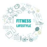 Schablone mit Eignung und gesunder Lebensstillinie Ikonen stock abbildung
