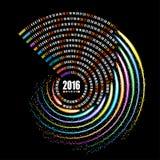 Schablone mit 2016 Kalendern, gewundenes Feuerwerk auf schwarzem Hintergrund Lizenzfreie Stockfotos