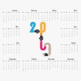 Schablone mit 2017 Kalendern Kalender für 2017-jähriges Vektordesignnotfall Stockfotografie