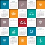 Schablone mit 2016 Kalendern mit Wetterikone Lizenzfreie Stockbilder