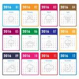 Schablone mit 2016 Kalendern mit Wetterikone Vektor/Illustration 201 Lizenzfreies Stockfoto