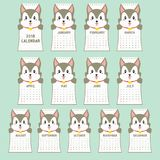 Schablone mit 2018 Kalendern Tierischesgeformtes, Husky Calendar Cartoon Vector stock abbildung