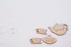 Schablone mit Teeschale und Teekanne Stockfotografie