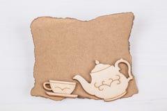 Schablone mit Teeschale und Teekanne Lizenzfreies Stockbild