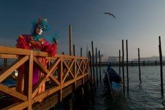 Schablone am Venedig-Karneval Lizenzfreies Stockfoto