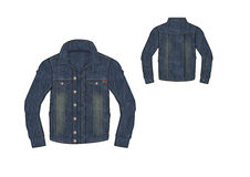 Schablone von Mann-Denim-Front Button Jacket-Design Lizenzfreie Stockfotos